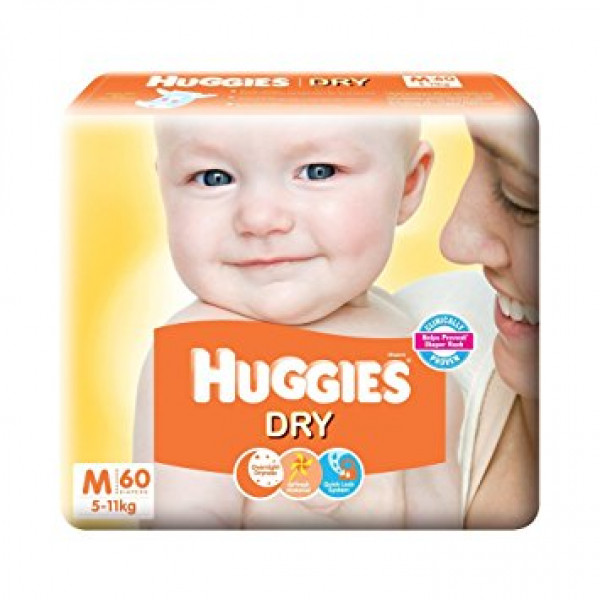 HUGGIES NEW DRY MED 60 S